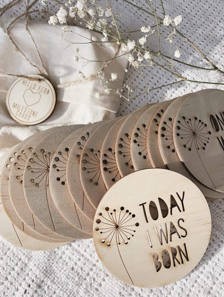 Raspberry Lane Boutique Wooden Milestone Discs - Dandelion