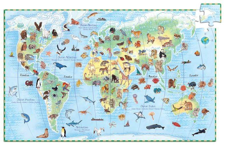 Raspberry Lane Boutique Worlds Animals 100pc Observation Puzzle - Djeco