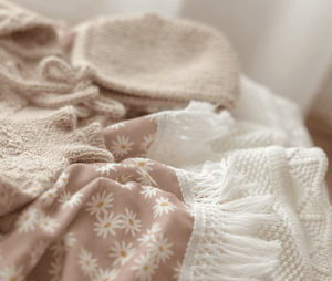 Raspberry Lane Boutique Ziggy Lou Mini Daisy Swaddle with Cream Fringe