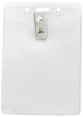 "Clear Vinyl Vertical Badge Holder with Clip and Slot and Chain Holes, 3"" x 4"" - All Things Identification"