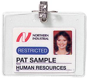 "Clear Vinyl Horizontal Holder with Pin-Clip Combo, 4"" x 3"" - All Things Identification"