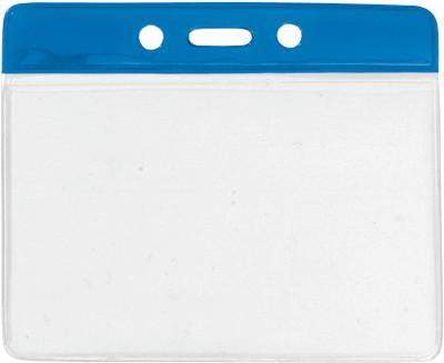 "Blue Horizontal 4 1-4"" x 4 3-8"" Color Bar Vinyl Badge Holder - 100 Badge Holders 1820-1102 - All Things Identification"