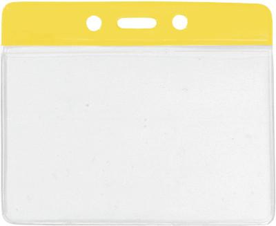 "Yellow Horizontal 4 1-4"" x 4 3-8"" Color Bar Vinyl Badge Holder - 100 Badge Holders 1820-1109"