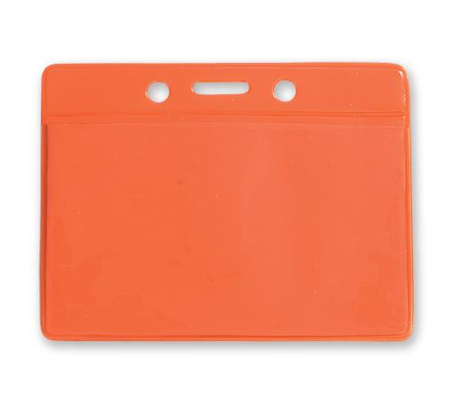 Orange Horizontal  Color-Back Vinyl Badge Holder  - 100 Badge Holders 1820-2005 - All Things Identification