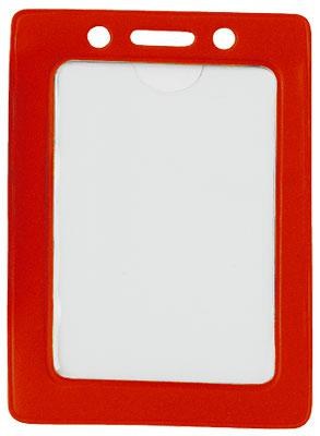 Red Vertical Color-Frame Vinyl Badge Holder  - 100 Badge Holders 1820-3006 - All Things Identification