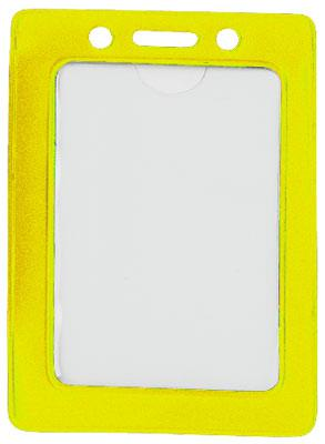 Yellow Vertical Color-Frame Vinyl Badge Holder  - 100 Badge Holders 1820-3009 - All Things Identification