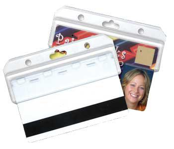 "Clear Vinyl Vertical Credential Wallet with Slot and Chain Holes, 3"" x 4.25"" - All Things Identification"