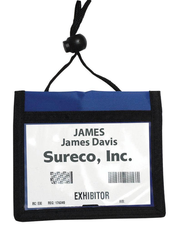 Blue 3-Pocket Credential Wallet with Adjustable Neck Cord - All Things Identification