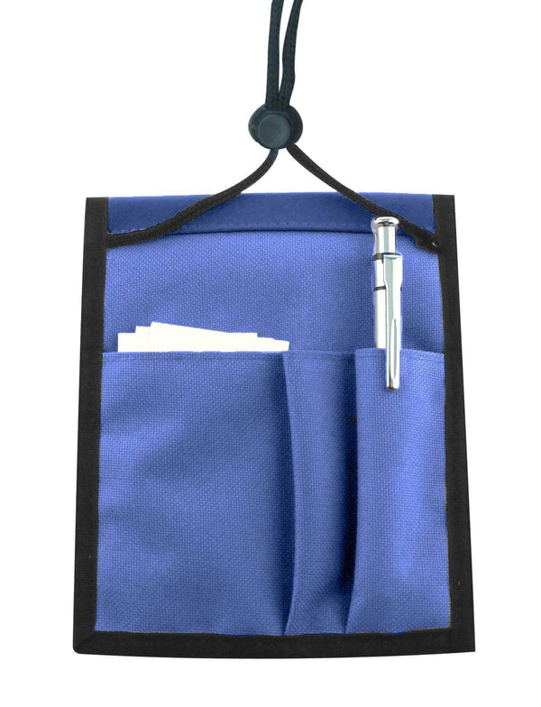Royal Blue Nylon Multi-Pocket Credential Wallet with Neck Cord - All Things Identification