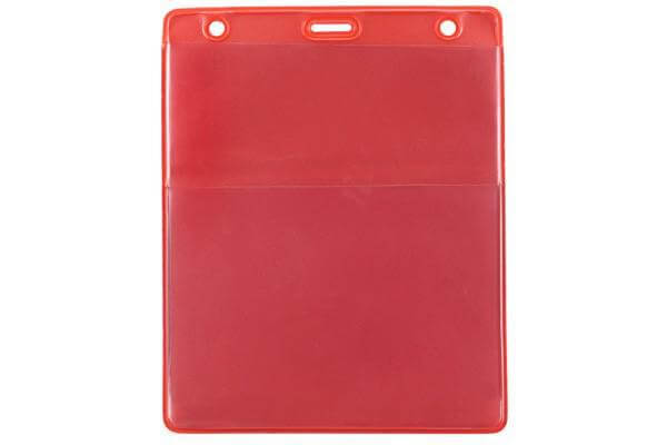 "Red Vinyl Vertical Credential Wallet with Slot and Chain Holes,3"" x 4.25"" 1860-4006 - All Things Identification"