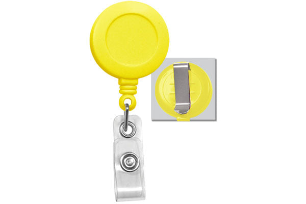 Yellow Badge Reel with Clear Vinyl Strap | Belt Clip - 25 - All Things Identification