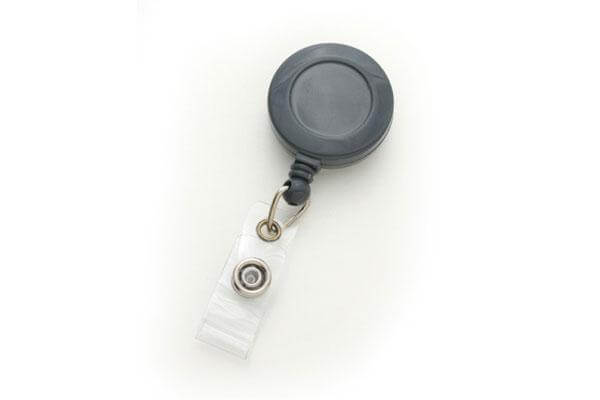 Gray Badge Reel with Clear Vinyl Strap | Belt Clip - 25 - All Things Identification