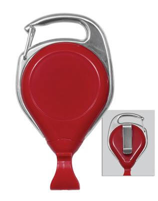 Red Proreel (Carabiner Style) with Card Clip | Belt Clip - 25 - All Things Identification