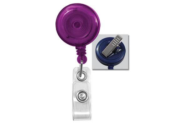Translucent Purple Badge Reel with Clear Vinyl Strap | Swivel Spring Clip - 25 - All Things Identification