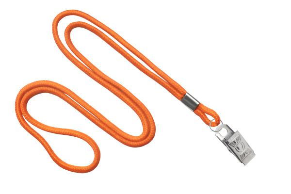 "Orange Round 1-8"" Bulldog Clip Lanyards - All Things Identification"