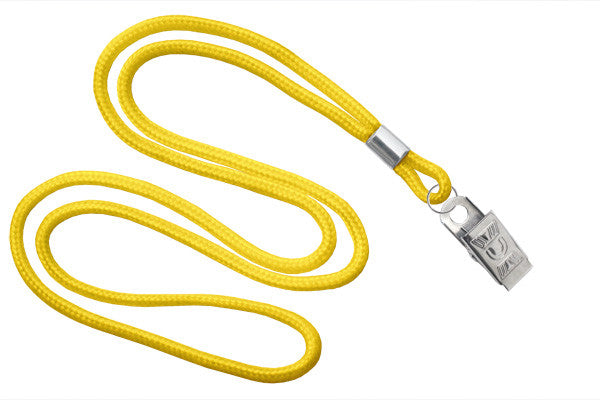 "Yellow Round 1-8"" Bulldog Clip Lanyards - All Things Identification"