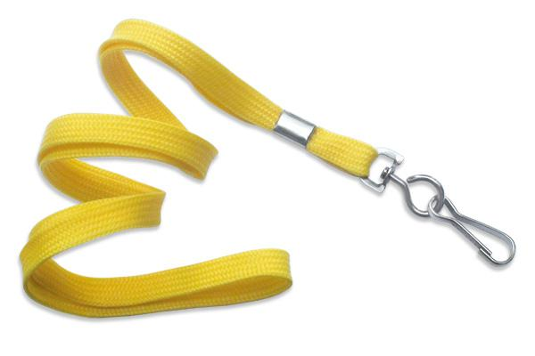 "Yellow 3-8"" Flat Woven Lanyard Swivel Hook - All Things Identification"