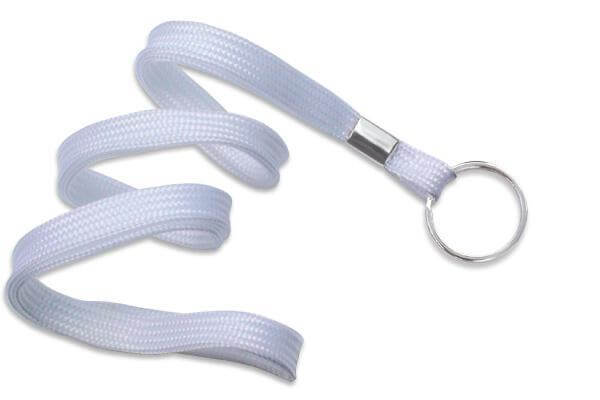"White 3-8"" Flat Woven Lanyard Split Ring - All Things Identification"