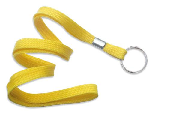 "Yellow 3-8"" Flat Woven Lanyard Split Ring - All Things Identification"