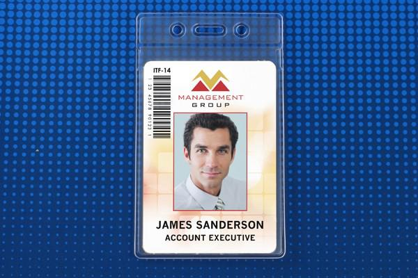 "Vertical Vinyl Clear Badge Holder with Fold-Over Flap 2.63"" x 3.7"" 506-35FS - All Things Identification"