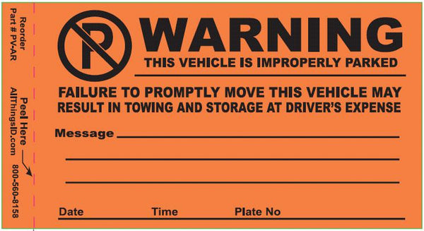 Parking Violation Stickers - 25 per package PV-AR000 - All Things Identification