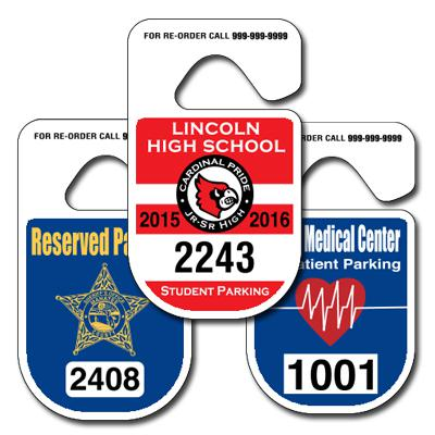 125 Custom Rounded Parking Hang Tags