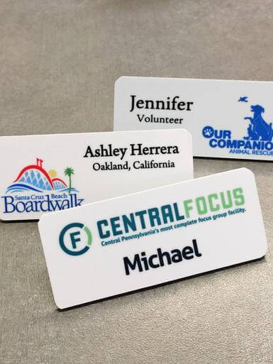 "5 - Full Color Plastic Name Tags with customization (1-1-4""x3"") - All Things Identification"