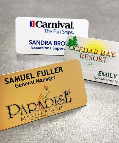 "5 - Name Tags - Full Color Aluminum with customization (1-1-2""x3"") - All Things Identification"
