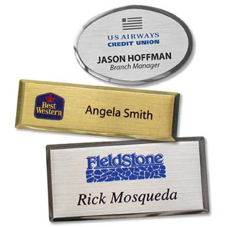 "5 - Name Tags - Executive Metal with customization (1.5""x2.5 "", oval) - All Things Identification"