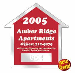 125 House Shape Static Cling Custom Parking Permits - All Things Identification