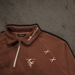 BURNT SIENNA - Quarter Zip Sueded Cotton Fleece Sweatshirt