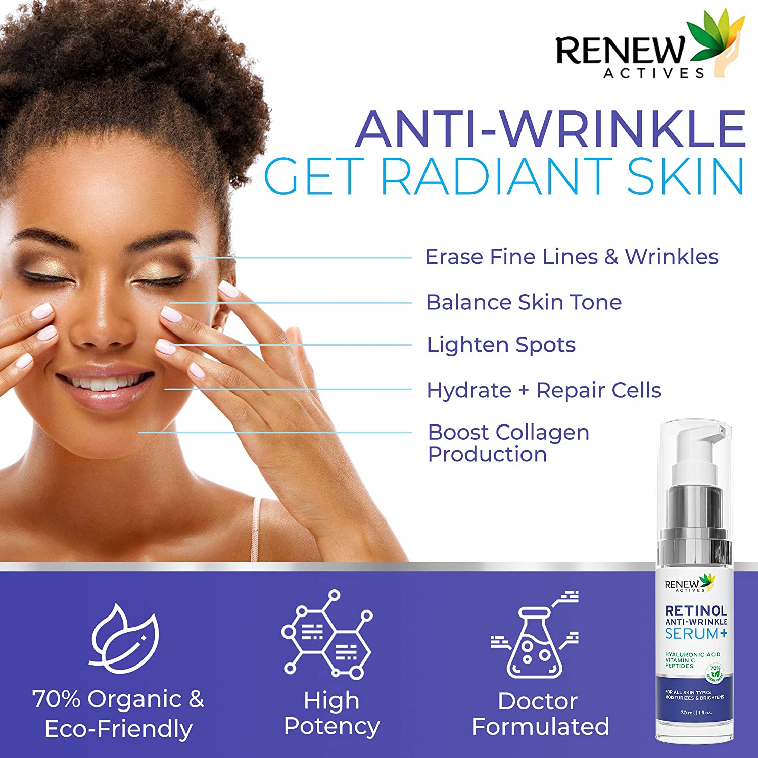 Pure 1% Retinol Serum for Face with Hyaluronic Acid & Vitamin C