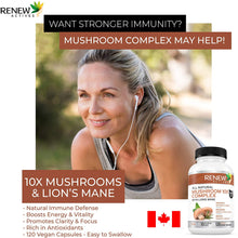 Load image into Gallery viewer, Premium Mushroom 10X Complex with Reishi & Lions Mane - 120 Veggie Capsules