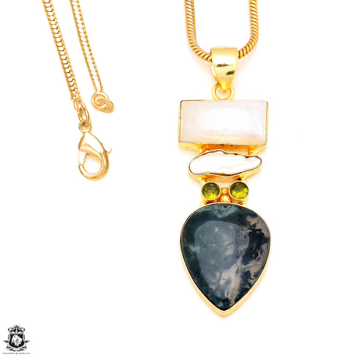Moonstone Moss Agate 24K Gold Plated Pendant 3mm Snake Chain GP201