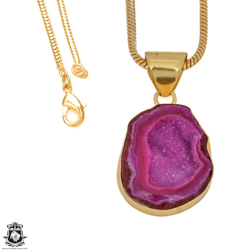 Cobalto Calcite Geode 24K Gold Plated Pendant 3mm Snake Chain GPH1181