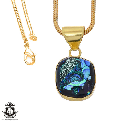 Dichroic Glass 24K Gold Plated Pendant 3mm Snake Chain GPH794