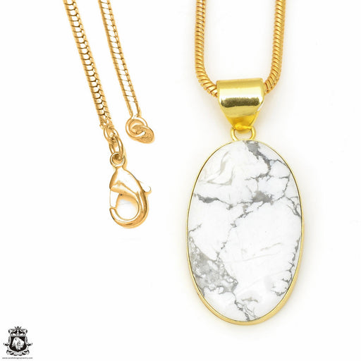 Howlite 24K Gold Plated Pendant 3mm Snake Chain GPH618