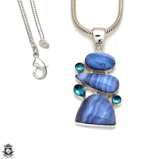 Blue Lace Agate Pendant 4mm Snake Chain P8370