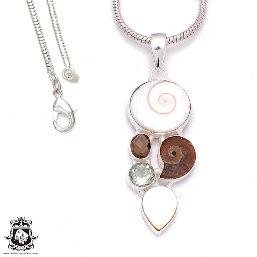 3 inch Shiva Shell Ammonite Pendant 4mm Snake Chain P7945