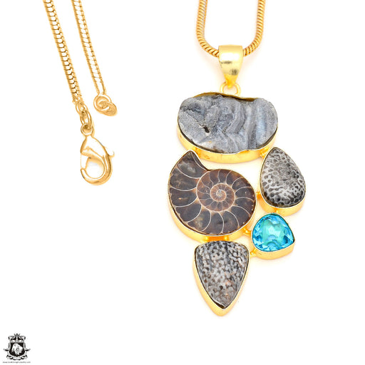 3.6 Inch Ammonite Stingray Coral 24K Gold Plated Pendant Snake Chain GP225
