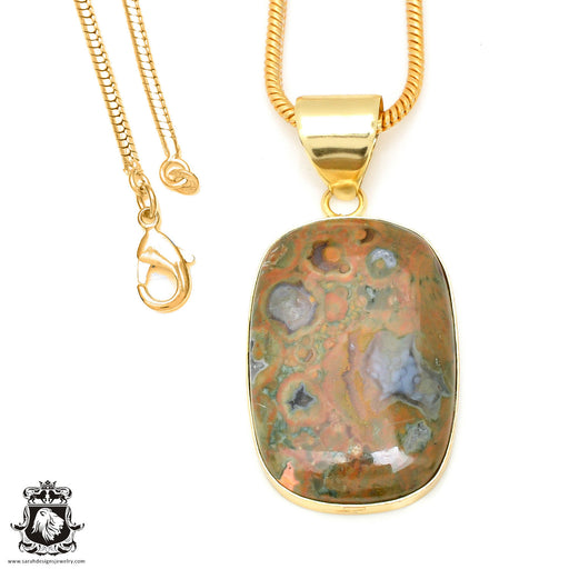 Rhyolite 24K Gold Plated Pendant 3mm Snake Chain GPH476
