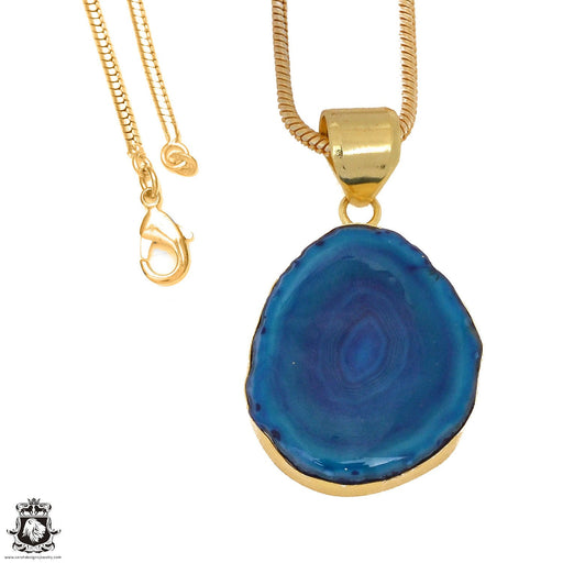 Ocean Blue Stalactite 24K Gold Plated Pendant 3mm Snake Chain GPH1152