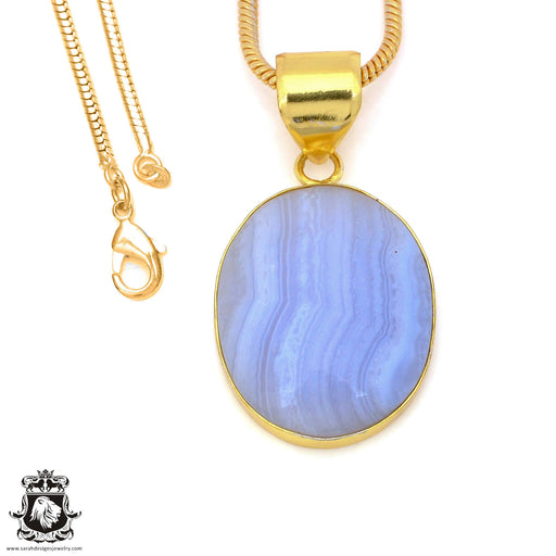 Blue Lace Agate 24K Gold Plated Pendant 3mm Snake Chain GPH1496