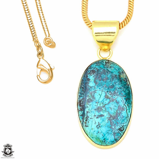 Chrysocolla 24K Gold Plated Pendant 3mm Snake Chain GPH493
