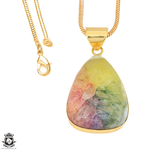 Rainbow Stalactite 24K Gold Plated Pendant 3mm Snake Chain GPH1145