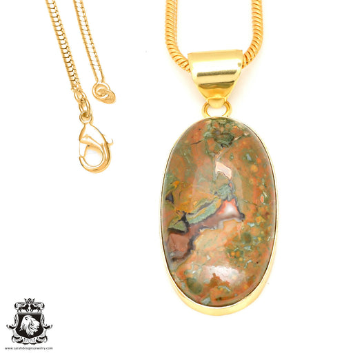 Rhyolite 24K Gold Plated Pendant 3mm Snake Chain GPH474