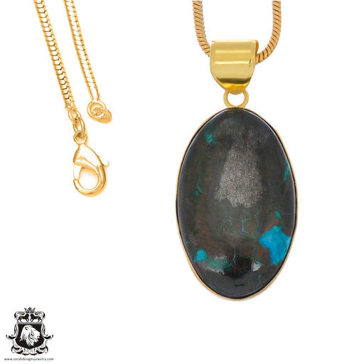 Chrysocolla 24K Gold Plated Pendant 3mm Snake Chain GPH1242