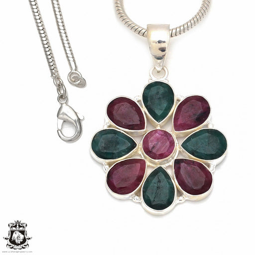 Ruby Emerald Pendant 4mm Snake Chain P8539