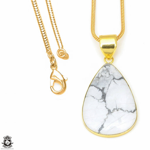 Howlite 24K Gold Plated Pendant 3mm Snake Chain GPH626