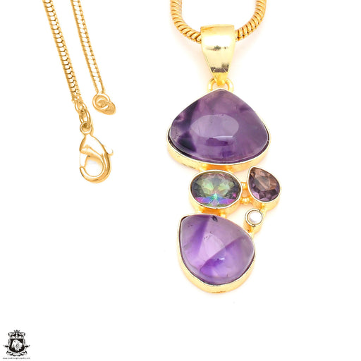 Trapiche Amethyst Mystic Topaz 24K Gold Plated Pendant 3mm Snake Chain GP244